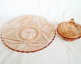 Vintage glass cake plate and sugar bowl Pink pressed glass dish tulip design Mid century serving