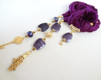 Turkish Silk Necklace, Purple Scarf Necklace, Jewelry Scarf, Scarf Necklace, Gold Necklace, Elegant,Feminine,Handmade, Mother's Day Gifts