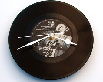 "U2 Vinyl Record CLOCK ""When Love Comes To Town"" 7"" vinyl record, Great gift for men women wedding anniversary Irish Rock legends monochrome"