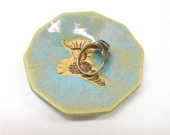 Pottery Shell Ring Dish Unglazed Shell Ceramic Ring Dish Ring Holder Ceramic Shell Dish Pottery Shell Dish Blue Teaspoon or Teabag Rest