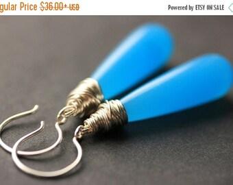 VALENTINE SALE Electric Blue Earrings. Long Earrings. Blue Dangle Earrings. Long Teardrop Earrings. Wire Wrapped Earrings. Handmade Jewelry