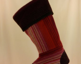 Christmas Stocking//Striped//Red//Wool//Felt Recycled//Repurposed 226
