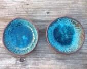 Modern Turquoise Ceramic Dipping Bowl, Handmade Dishes, Rustic Dinnerware