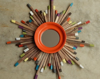 Midcentury Colorful Starburst, Colorful Wood Art, MADE TO ORDER