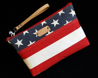 Patriotic clutch - Patriotic Wristlet - Red, White, Blue wristlet - Clutch Purse - Wristlet bag - Leather strap - Handmade - Handbag - Women