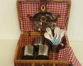 COMPLETE SET Children's Dishes in Case, Vintage Woven Picnic Suitcase w/ Stainless Plates & Cups, Plastic Flatware, Tablecloth