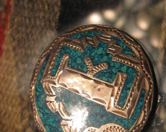 Vintage Taxco Mexico Brooch Pendant Silver turquoise pendant necklace