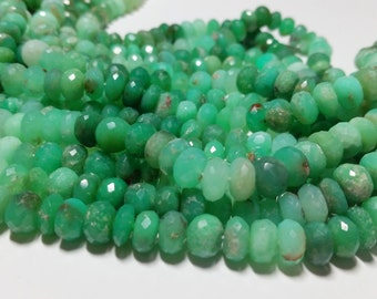 Natural Chrysophrase Faceted Rondelle Beads 8mm
