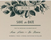 Wood Block Roses Save The Date - Rustic Wedding - Vintage Wedding - Floral Save The Date
