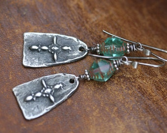 Rustic Bohemian * Celtic Cross * earrings n240- artisan cast . watered aquamarine Czech glass . religious . short blue green boho artisan
