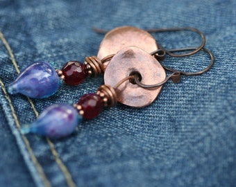 Rustic Organic Blue Pods ' Indigo Blue Series ' earrins n.95 - Romantic, Boho earrings, Mykono discs , artisan lamp work in blue , cottage