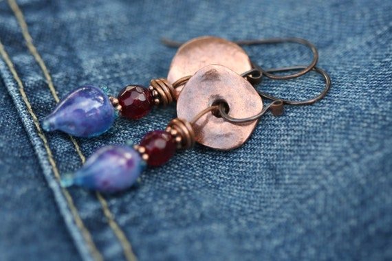 Rustic Organic Blue Pods ' Indigo Blue Series ' earrins n.95 - Romantic, Boho earrings, Mykono discs , artisan lamp work in blue , cottage