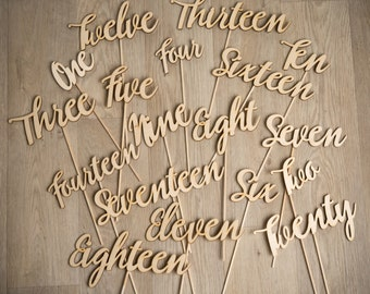 Modern Rustic Script Wooden Wedding Table Number Decorations on Sticks - hand written perfect for a party seating plan!
