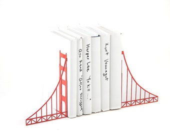 Metal Bookends // Golden Gate Bridge // Cool Home Decor Gift for A San Francisco Housewarming Party // Christmas gift // Free Shipping