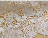 lace fabric, floral lace fabric, bridal lace fabric, venise lace fabric, venice lace, off white lace fabric, guipure lace fabric by the yard