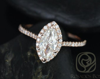 Sasha 10x5mm 14kt Rose Gold Marquise F1- Moissanite and Diamond Halo Engagement Ring (Other Center Stone Available Upon Request)