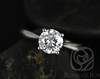 Rosados Box Flora 7mm 14kt White Gold Round F1- Moissanite Tulip Cathedral Solitaire Engagement Ring