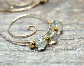 Bohemian spiral earrings Gemstone hoop earrings Gold hammered hoops AAA Green amethyst prasiolite Wire wrapped hoop gemstone earrings