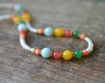 Colorful necklace Bright colored beaded necklace Coral green aqua yellow semi precious stone Office resort cruise summer fashion jewelry