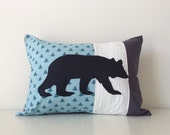 Cottage Pillow Cover, Bear Lumbar Pillow, 12x16, Nursery, Nature Decor, Kids Room, Trees, Logs Pattern, Earthy Contemporary Cushion Cover