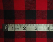 "Yarn-Dyed Red & Black Buffalo Plaid Cotton Flannel Fabric, BTY - 55"" wide"