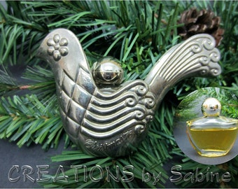 Avon Christmas '76 Partridge Bird, Ornament with Occur! Cologne Perfume Bottle silver Metal Bottle Holder 1976 Vintage FREE SHIPPING (389)