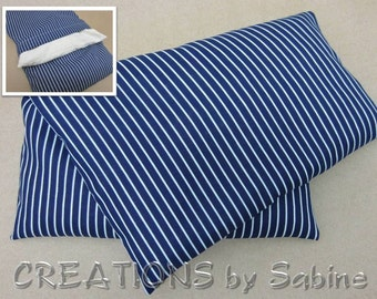 Corn Heating Pack, Microwave Pillow washable Cover, Hot Cold Wrap blue white stripes pinstripe nautical masculine gift READY TO SHIP (327)
