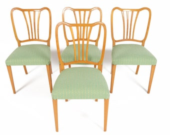 Set of Four Swedish Mid Century Modern Oak Harp Dining Chairs