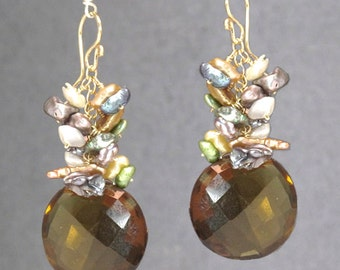 Earring clusters of mixed pearls, round whiskey quartz Princess 231