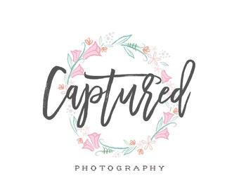 Logo Design Photography Logo Branding Package Rustic Vintage Floral Wreath Newborn Photography Wedding Calligraphy Pink Green Earthy