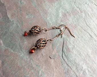 "Birdcage Earrings / Antique Copper / Drop / Dangle / Seed Bead / Red / Delicate - 2"" long - E47"