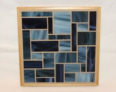 Dark Blue Stained Glass Mosaic Trivet