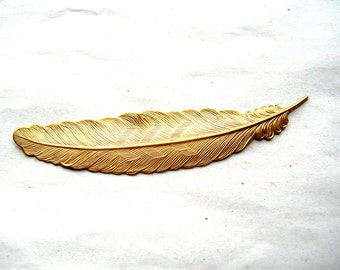 Large Brass Feather Stamping - Large Feather Stamping - Long Feather