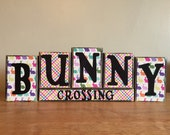 Wood Easter Block Sign, Bunny Crossing sign, Easter blocks, wood Easter decor, Spring Blocks, Spring Decor, Spring sign, Easter bunny