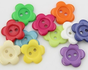 10 pcs 0.68 inch Colorful Plum Flower 2 Hole Resin Shell Buttons for Kids Shirts Sweaters