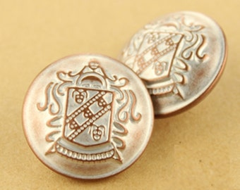 6 pcs 0.59~0.83 inch High-grade Retro Tawny(Apricot) Shield Metal Shank Buttons for Coats Sweaters