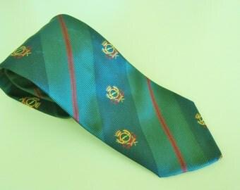 vintage silk tie, JAGUAR silk tie, automobile club tie, car club tie, vintage car tie, vintage Jag, dark green neck tie