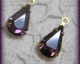 Amethyst Crystal 15MM  Brass Rhinestone Pear Teardrop 1 Loop Drop