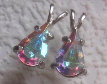 Swarovski Crystal AB Clear Rhinestone Pear Shape Pendant 19MM with Rabbit Ear Bail