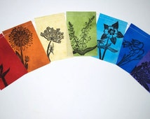 Colorado Wildflowers Gratitude Flags, Prayer flags, garden banner  (Made with original hand carved block prints) small,