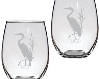 Blue Heron Glass  FREE Personalization
