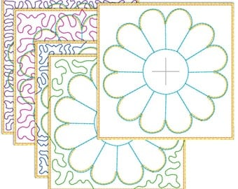 Quilt in the hoop 100 mm embroidery pattern - 6 dresden style flower designs for 100 mm hoops