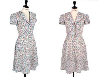 1940's style Tea Dress - Floral print - Mia Flowers - Swing Dress