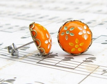 Daisy Trio in Orange - vintage glass button post earrings
