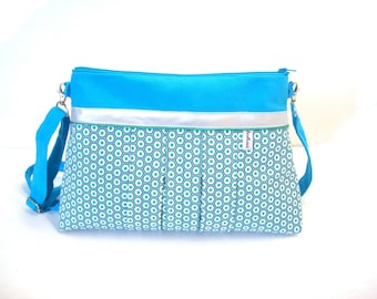 geometric turquoise canvas bag-crossbody bag polygones fabric-pleated shoulder bag