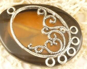 Filigree Oval Earring Chandelier Findings Charms Pendants, Antique Silver (4) - SF78