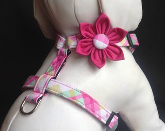 Dog Harness Flower Set - Hot Pink And Green Plaid Adjustable Dog Harness - Size XS, S, M, L