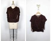 30s Brown Silk Velvet Cowl Neck Blouse • 1930s Draping Formal Velvet Top • Small • Medium