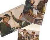 vintage postcards, postcard lot, lot of 3, Italian postcards, boys eat spaghetti, 1910's
