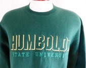 Go HSU lumberjacks vintage 80's Humboldt State University forest green fleece graphic sweatshirt yellow gold green embroidere logo jumper xl